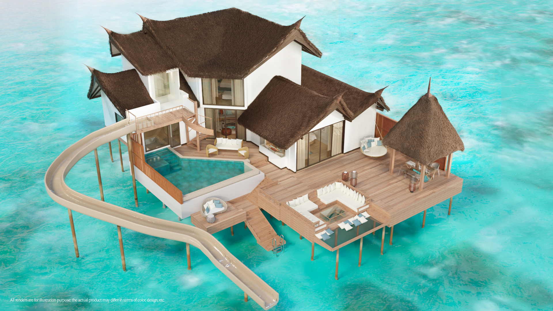 Private Ocean Retreat with Slide - Aerial View - illustration